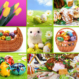 Traditional Easter - themed collage Stock Photos