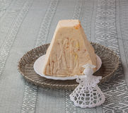 Traditional Easter treats curd (cheese) cake and knitted toy ang Stock Image