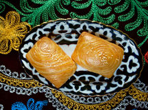 Traditional eastern food samsa. Stock Photo