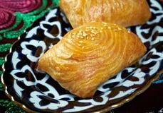Traditional eastern food samsa. Royalty Free Stock Photos