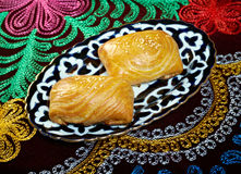 Traditional eastern food samsa. Stock Photos