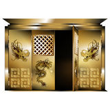 Traditional eastern gate gold dragons opened door Royalty Free Stock Images
