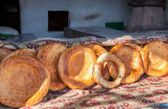 Traditional eastern round appetizing fresh bread. Selling at the local market Stock Images
