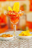 Traditional ecuadorian cold tomato based dish with chochos, onions and banana chips, elegant restaurant presentation.  Royalty Free Stock Images