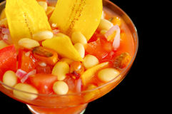 Traditional ecuadorian cold tomato based dish with chochos, onions and banana chips, elegant restaurant presentation.  Stock Images