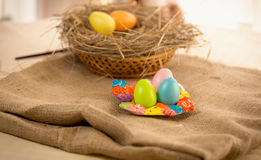 Traditional eggs lying on table at Easter Stock Photography