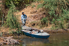 Traditional egyptian fisherman on the Nile Royalty Free Stock Photography