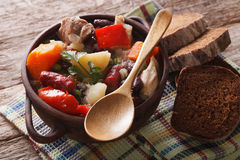Traditional eintopf soup with meat, sausages and vegetables clos Royalty Free Stock Images