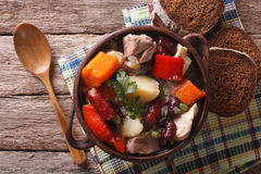 Traditional eintopf soup in the pot close up. horizontal top vie Royalty Free Stock Image