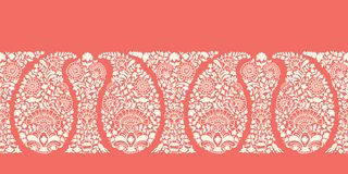Traditional Elaborate Coral Paisley Vector Seamless Horizontal Border Pattern. Elegant classic background. vector illustration