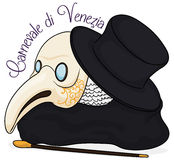 Traditional Elements for Plague Doctor Costume in Carnival of Venice, Vector Illustration Royalty Free Stock Image