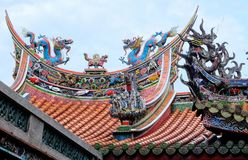 Traditional elements of the roof of the Chinese temple royalty free stock images