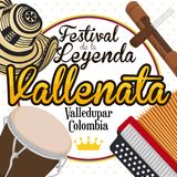 Traditional Elements to Celebrate the Colombian Vallenato Legend Festival, Vector Illustration Royalty Free Stock Image