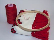 Traditional embroidered towel with red thread on white backgroun Royalty Free Stock Photo
