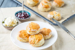 Traditional English Afternoon Tea, Scones with Clotted Cream and Strawberry Jam. Horizontal View Royalty Free Stock Photos
