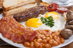 Traditional English Breakfast Close up Stock Images