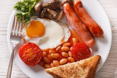 Traditional English breakfast closeup. horizontal top view Royalty Free Stock Photo