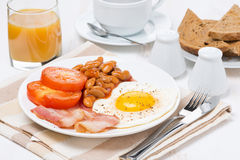 Traditional English breakfast, coffee and juice Stock Image