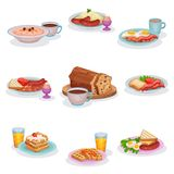 Traditional English breakfast dishes set, oatmeal porridge, mashed potatoes with sausages, eggs and ham, classic vector illustration