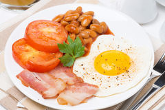 Traditional English breakfast on the plate Stock Photos