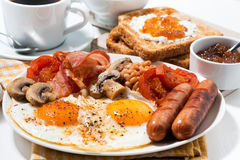 Traditional english breakfast on a plate Royalty Free Stock Images