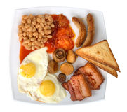 Traditional english breakfast on plate isolated Stock Image