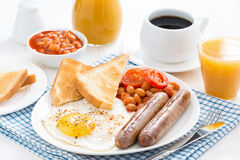 Traditional English breakfast with sausages Royalty Free Stock Image