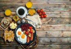 traditional English breakfast. Snacks with fresh coffee stock photo