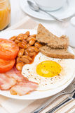 Traditional English breakfast, vertical Stock Images