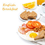 Traditional English Breakfast With Fried Eggs, Bacon Stock Photos