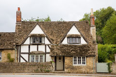 Traditional English Cottage. Old, traditional half timbered cottage in a village in Somerset, England, UK Stock Photo