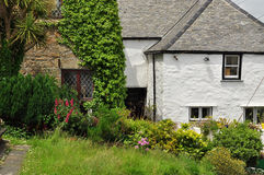 Traditional English cottage garden. Cornwall, England, UK. Traditional British house entrance and front garden in Cornwall, England, Britain Stock Photography