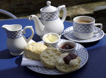 Traditional english cream tea. A traditional English cream tea with scones and jam Royalty Free Stock Photo