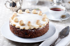 Traditional English Easter cake with marzipan Royalty Free Stock Photo