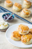 Traditional English Pastries, Scones with Strawberry Jam on the Rustic Table Royalty Free Stock Photos