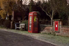 Traditional english phonebox at night Stock Photo