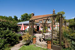 Traditional English pub garden Stock Photos