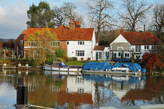 Traditional English Riverside House Stock Images