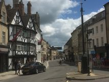 Traditional English town. Blue sky over old English town Stock Photography