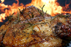 Traditional English wine marinade roast by romantic fire Royalty Free Stock Photo