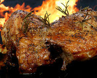 Traditional English wine-marinade roast by romantic fire Stock Photo
