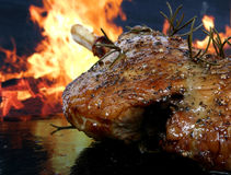 Traditional English wine marinade roast by romantic fire. Conceptual sunday or xmas lunch macro close up with copy space Royalty Free Stock Photos