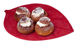 Traditional Estonian shrove bun on isulated white Royalty Free Stock Photos