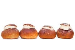 Traditional Estonian shrove bun on isulated white Stock Photos