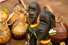 Souvenir from Ethiopia, African totem. Traditional Ethiopian carved wooden totems in the Omo Valley for buying on the ethnic market as the souvenir from Ethiopia Royalty Free Stock Photography