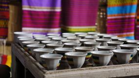 Ethiopian Coffee Cups. Traditional Ethiopian Coffee Cups for the Coffee Ceremony Royalty Free Stock Images