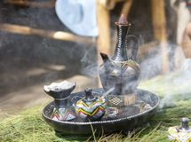 Traditional ethiopian coffee pot. Ethiopia is the world's seventh largest producer of coffee, and Africa's top producer. Half of the coffee is consumed by Royalty Free Stock Image