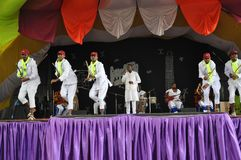 Traditional Ethiopian Dance. Men performing a traditional Ethiopian Oromo dance on a stage Stock Photography