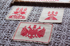 Traditional ethnic slavian towels. On wooden table Royalty Free Stock Image