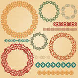 Traditional ethnic smooth meander border set. Royalty Free Stock Photo